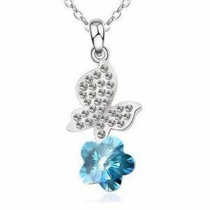 Jewelry - Silver Chain Necklace & Blue Rhinestone